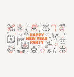 happy new year party horizontal vector image