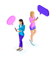 Isometry of young girls communicates on the phone vector