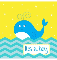 Its a boy shower card with cute cartoon whale vector