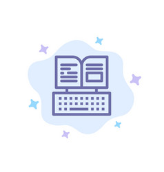 Key keyboard book facebook blue icon on abstract vector