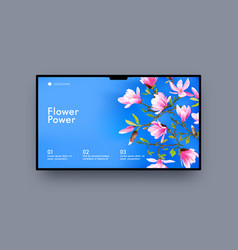 Landing page design with pink cherry flowers on vector