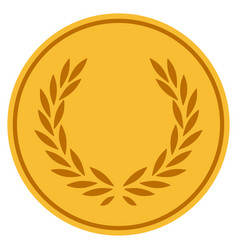 Laurel wreath gold coin vector