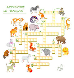 Learn french crossword puzzle game with animals vector