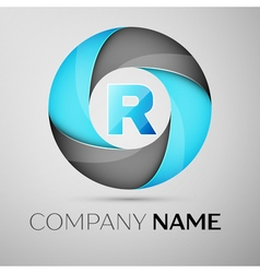 Letter R logo symbol in the colorful circle vector image