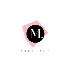 m letter pastel geometric shaped logo design vector image