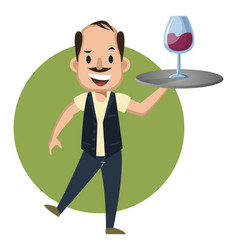 man serving wine on white background vector image