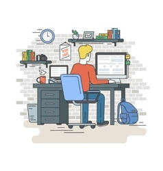 Man with laptop sitting at home vector