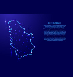 Map serbia from the contours network blue vector