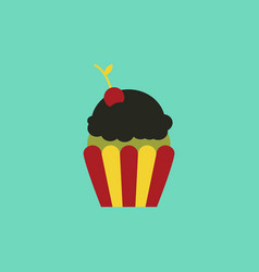 Maraschino cherry cupcake vector