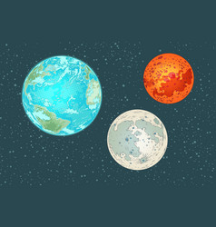 Mars earth and moon planets of the solar system vector