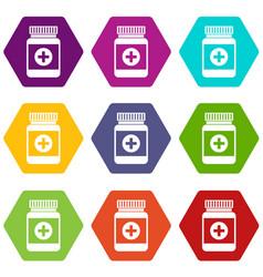 medicine bottle icon set color hexahedron vector image
