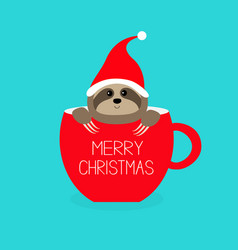 Merry christmas sloth sitting in red coffee cup vector