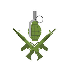 Military emblem army logo crossed rifles and vector