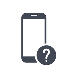mobile phone icon with question mark vector image