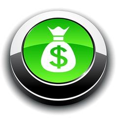 Money 3d round button vector