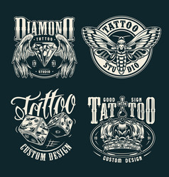 monochrome tattoo salon emblems set vector image
