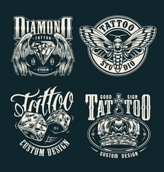 Monochrome tattoo salon emblems set vector