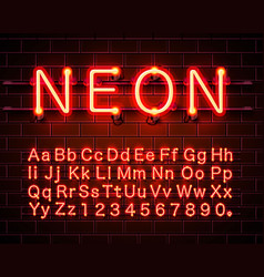 neon city color red font english alphabet sign vector image