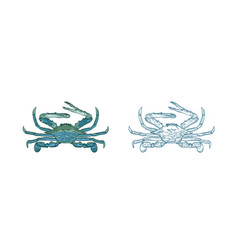 ocean blue crab set colorful vector image