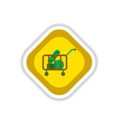 Paper sticker on white background shop cart vector