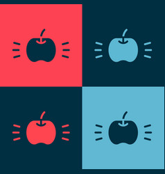Pop art apple icon isolated on color background vector