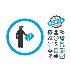 Postman Flat Icon with Bonus vector image