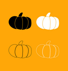 Pumpkin set black and white icon vector