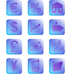 purple financial icons and buttons vector image