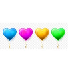 realistic heart balloon with shadow shine helium vector image