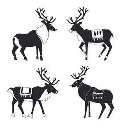 reindeer silhouettes scandinavian merry vector image