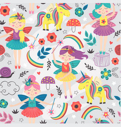 seamless pattern with magic forest fairies vector image