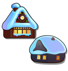 set cozy rustic small houses with glowing vector image