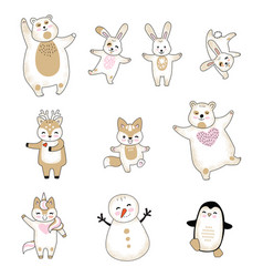 set cute animals cartoon characters vector image