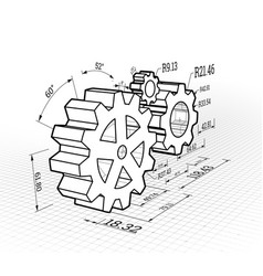 set gears on a white background vector image