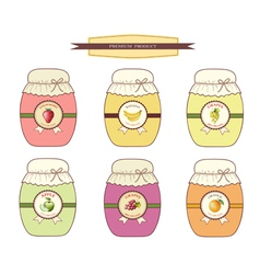 Set jars of jam from fruits vector