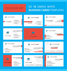 set of 12 cloud computing creative busienss card vector image