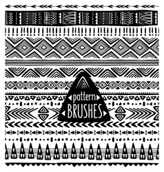 Set of ethnic pattern brushes vector