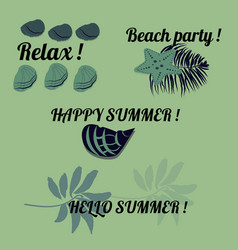 Set of green colored summer stickers vector
