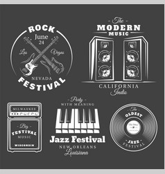 set vintage musical labels vector image