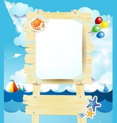 Signboard on seascape vector