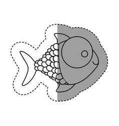 silhouette happy fish cartoon icon vector image