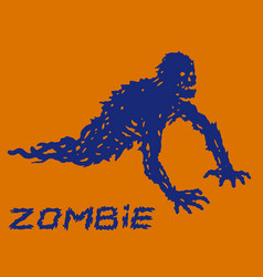 Silhouette of a blue crawling zombie with their vector