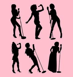 Singer gesture silhouette vector