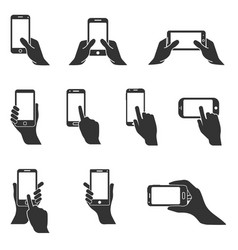 Smartphone in hand icons vector