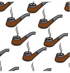 smoking pipe sherlock holmes item seamless pattern vector image