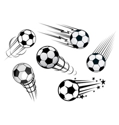 Speeding footballs or soccer balls vector