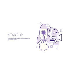 startup business concept template web banner with vector image