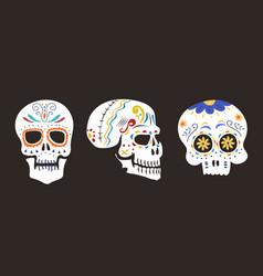style skull face dia de los muertos symbol vector image