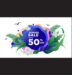 Summer sale banner template geometric background vector