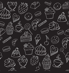 sweet bakery sketch seamless pattern on black vector image